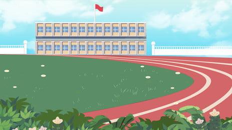 Trường học sân chơi vật liệu nền Xây Dựng Giảng Hình Nền
