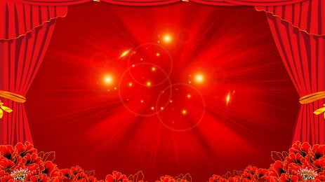Senior Warm Red Curtain Flower Advertising Background, Advertising Background, Red Background, Warm, Background image