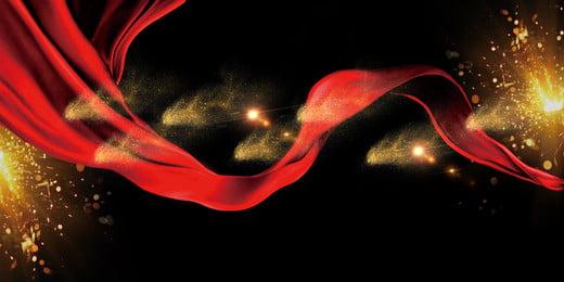 brillante fondo de anuncios streamer ligero oro rojo, Fondo Publicitario, Fondo Negro, Streamer Imagen de fondo