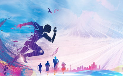 輝く実行群衆シルエット広告の背景, 広告の背景, 青い空, クラウド 背景画像