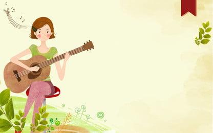 cô gái tóc ngắn quảng cáo nền guitar, Nhạc Cụ, Guitar, Học Sinh Ảnh nền