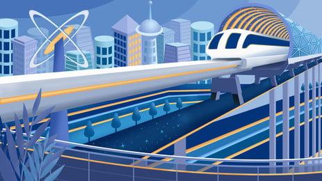 Shuttle High Speed Cartoon Background In The City Rail,blue,high Building,highway,cartoon,background, Shuttle High Speed Cartoon Background In The City, Rail, Blue, Background image