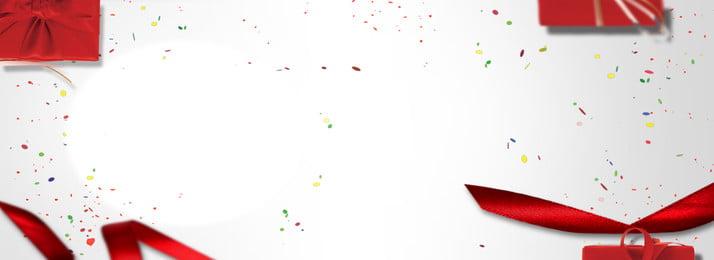 Nền banner đơn giản Ruy băng đỏ Hộp Quà Mảnh Màu Hình Nền