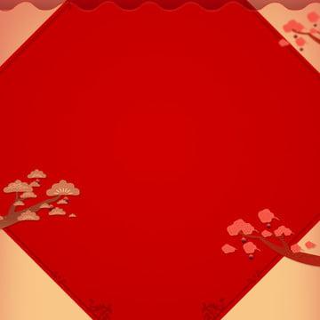 간단한 붉은 축제 신년 주요 그림 배경 자료 , 빨간색, 축제, 새해 배경 이미지