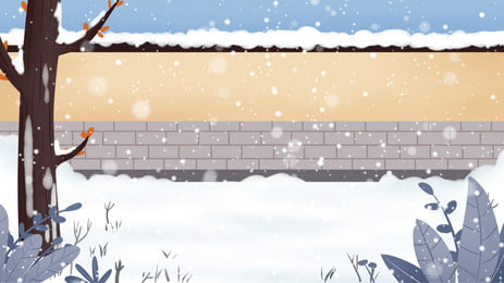 簡約冬天圍牆上的雪背景素材, 簡約, 冬天, 圍牆 背景圖片