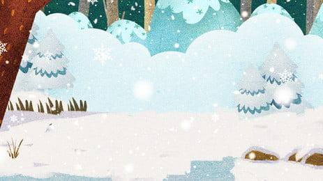 簡約樹林的雪地冬天背景素材, 簡約, 樹林, 雪地 背景圖片