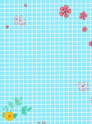 小花藍色背景 , 小花, 藍色, 格子 背景圖片