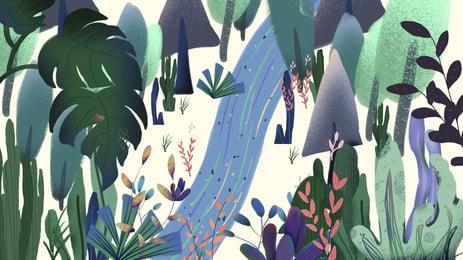 màu xanh lá cây rừng ở đường giữa nền hoạt hình, Hoạt Hình, Đường Mòn, Bằng Tay Ảnh nền