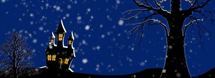 Snow Night Castle Poster Background, White Snow, Castle, Dead Tree, Background image