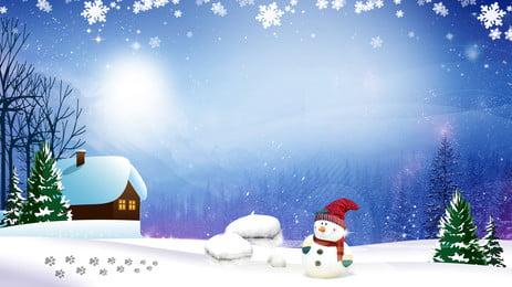 スノーパインスノーマン広告の背景, 広告の背景, 新鮮な, スノーフレーク 背景画像