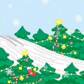 눈 겨울 색상 크리스마스 선전 배경 소재 , 크리스마스 배경, 블루, 아름다운 배경 이미지