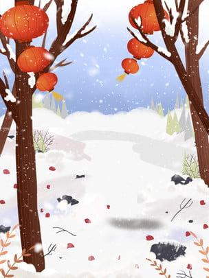 Tuyết tuyết cành cây đèn lồng thiết kế nền Đèn lồng Tuyết Chi nhánh Mùa đông Lễ Truyền Hình Nền