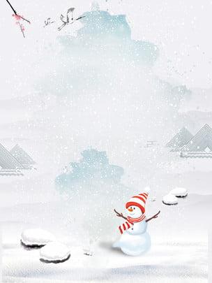 chất liệu nền snowman trong tuyết đơn giản , Đơn Giản, Tuyết, Người Tuyết Ảnh nền
