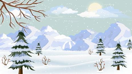snowy xa núi thiết kế nền minh họa tươi, Vẽ Tay, Nền Tươi, Minh Họa Nền Ảnh nền
