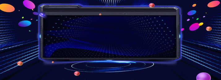 スペースセンスブルーウェーブドット電子ディスプレイバナーの背景, 色付きの丸, 宇宙感覚, ブルー 背景画像