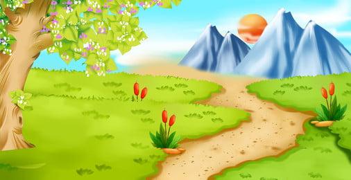 वसंत वन पथ चित्रण पृष्ठभूमि डिजाइन, वसंत, ताजा पृष्ठभूमि, हाथ से चित्रित पृष्ठभूमि पृष्ठभूमि छवि