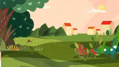 الربيع قرية المجال خلفية تصميم جديد, رسوم متحركة, مرسومة باليد, جديد صور الخلفية