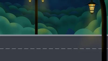 lampu jalan di kedua dua belah latar belakang kartun, Lebuhraya, Lampu Jalan, Kartun imej latar belakang
