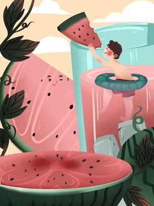 夏日西瓜飲料背景設計 , 西瓜, 水果背景, 夏日 背景圖片