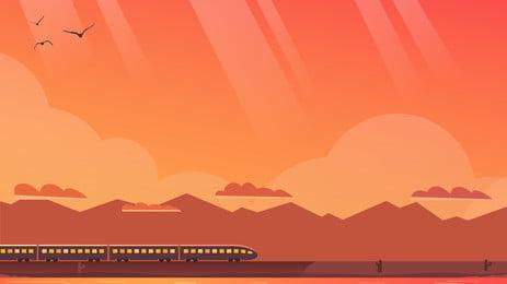 sunset berikutan latar belakang pengiklanan landskap kereta, Latar Belakang Pengiklanan, Segar, Matahari Terbenam imej latar belakang