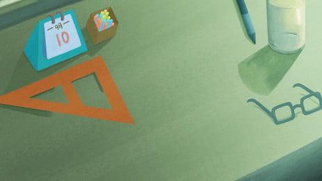 Hintergrundmaterial des Lehrers zum Tisch Gläser Tischkalender Buch Podium Quadratisches Lineal Tasse Füllfederhalter Kreide Eröffnungssaison Podium Hintergrund Poster Hintergrundmaterial Des Lehrers Hintergrundbild