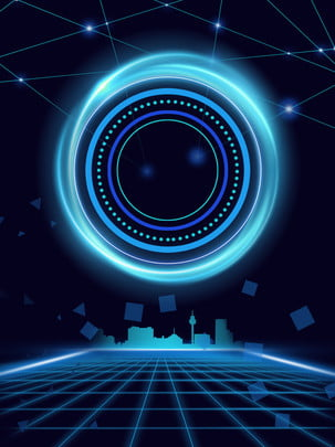 tech smart city blue background , Cool, Science And Technology, Blue Background image
