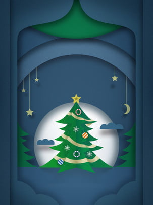 three dimensional green christmas tree house advertising background material , Stereoscopic, Green, Christmas Tree Background image