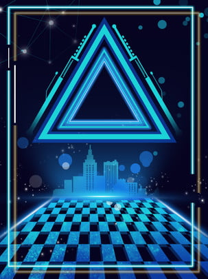 triangle smart technology city background , Intelligent, Light Effect, Triangle Background image