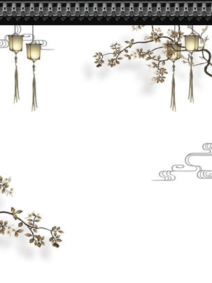 ビンテージ中国風のミニマリストの背景 , 装飾ライン, フラワーブランチ, ランタン 背景画像