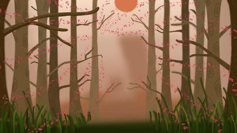 विंटेज जंगल पृष्ठभूमि डिजाइन, रेट्रो, हाथ खींचा हुआ, जंगल की पृष्ठभूमि पृष्ठभूमि छवि