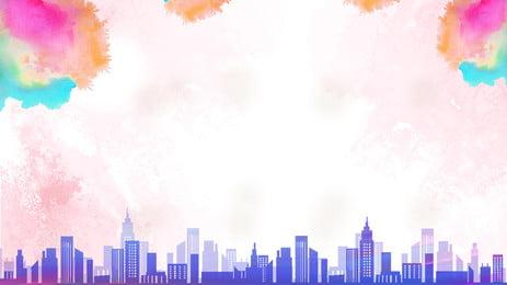 Màu nước thiết kế nền thành phố Màu nước nền Thành Liệu Xanh Carbon Hình Nền