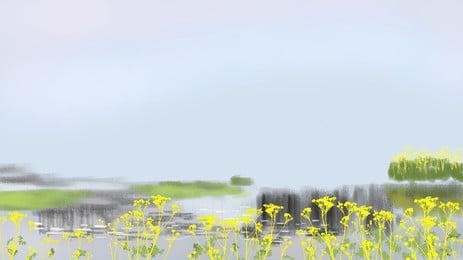 Aquarelle Fleurs Surface du lac Aquarelle Fleur Fond Surface Fond Fond Image De Fond