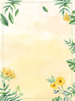 watercolor minimalist wedding water sign forest plant flower background , Sunflower, Sen, Water Card Background image