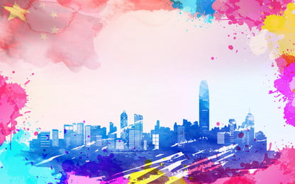 Watercolor Tech Smart City Background City,smart City,building,blue,city Silhouette,fashion, Gradient, Atmospheric, Starry, Background image