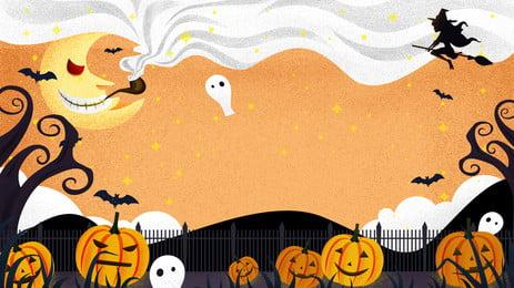 Западный призрак фестиваль Хэллоуин тыква свет иллюстрации фона Хэллоуин иллюстрация Тыквенные Фоновое изображение