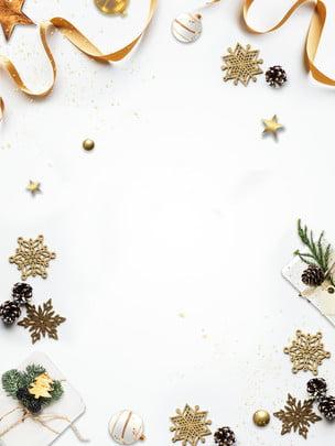 सफेद क्रिसमस की सजावट पृष्ठभूमि डिजाइन , रिबन, हिमपात का एक खंड, क्रिसमस की सजावट पृष्ठभूमि छवि