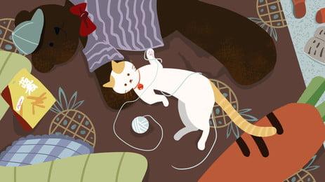 客間で毛糸の団の白色の猫の漫画の背景を遊びます, アニメ, 客間, 家居 背景画像