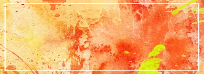 ホワイトラインボーダー暖かい色スプラッタバナーの背景, イエロー, オレンジ色, 白線の枠線 背景画像