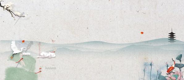 白色簡約中國風水墨山水背景, 中國風, 山水, 國風 背景圖片