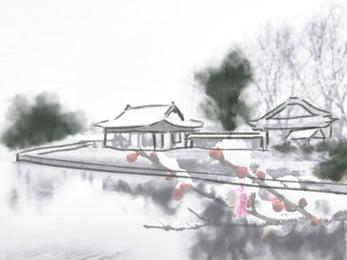 White Minimalist Chinese Style Ink Landscape Background Wind Material,chinese Wind, Map, Fashion, Chinese, Background image