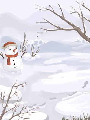 白色冬季雪人雪地背景設計 , 節氣, 大雪, Psd 背景圖片