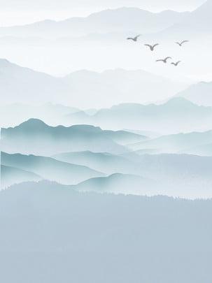 ngỗng hoang gushan mực nền minh họa , Ngỗng Hoang, Núi Cô đơn, Mực Núi Cô đơn Ảnh nền