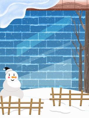 winter cartoon cute snowman blue background , Musim Sejuk, Kartun, Comel imej latar belakang