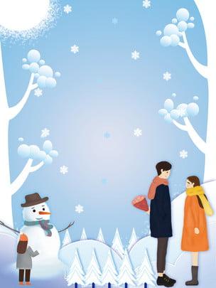 winter happy minimalistic couple background , Snowman, Heavy Snow, Snowy Background Background image