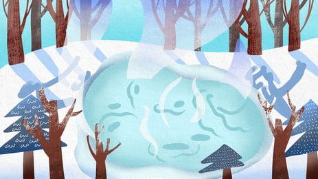 冬季冰雪融化背景設計, 冬季, 唯美, 夢幻 背景圖片