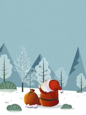 mùa đông tối giản santa claus nền , Ông Già Noel, Túi May Mắn, Nền Quảng Cáo Ảnh nền