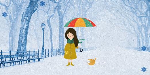 शीतकालीन बर्फ पृष्ठभूमि लड़की डिजाइन, सपना, हिमपात, सुंदर पृष्ठभूमि छवि