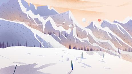 mùa đông tuyết núi đẹp thiết kế nền minh họa, Vẽ Tay, Nền đẹp, Tươi Ảnh nền