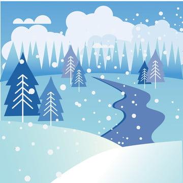 冬天下雪插畫背景 , 冬天, 雪景, 冷色森林 背景圖片