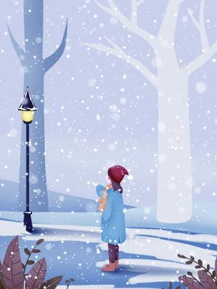 Thiết kế nền tuyết mùa đông cô gái Cô Gái Đèn Hình Nền
